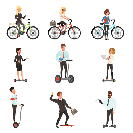 Business men and women on different vehicles: electric hoverboard, segway, bicycle, skateboard. Young office workers. Cartoon people characters. Flat vector design