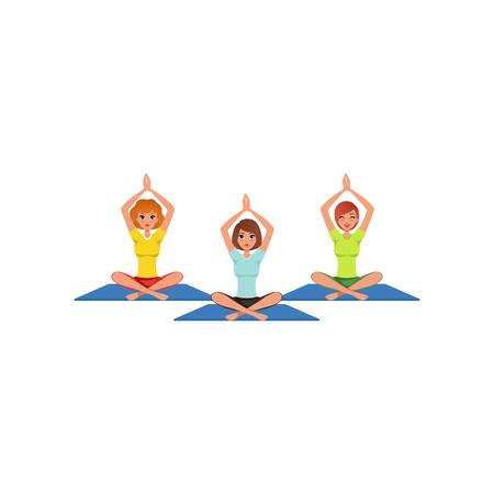 Cartoon women in yoga position illustration Reklamní fotografie - 98823986