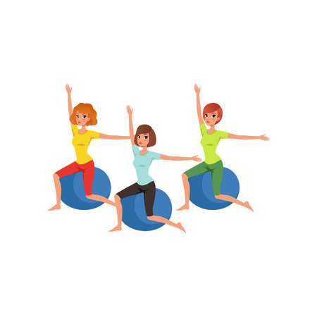 Cartoon women characters doing exercise with fitness ball vector illustration