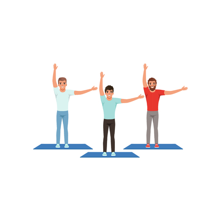 Smiling men warming-up and stretching before training. Male fitness group. Active workout. Young guys in sportswear. Physical activity. People in gym. Flat vector design Illustration