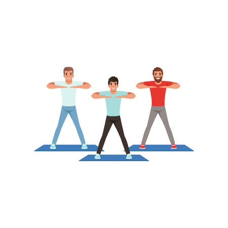 Cartoon men doing sport exercise. Three young guys warming-up before training. People in gym fitness center. Healthy lifestyle. Physical activity. Flat vector