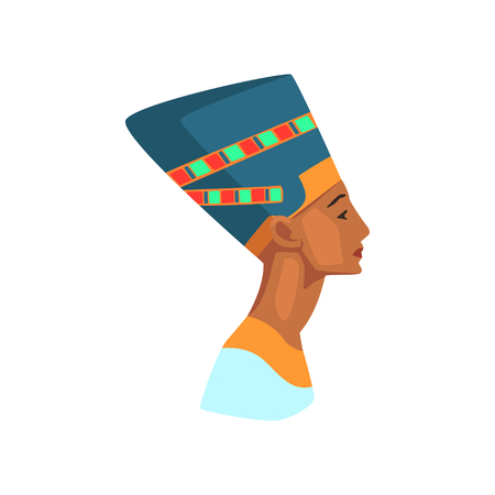 Colorful illustration of Egyptian queen. Statue of Nefertiti. Travel to Egypt. Graphic element for promo poster or banner of travel agency. Flat vector design Çizim
