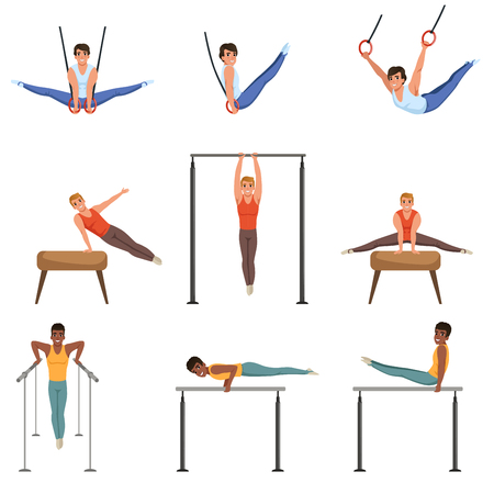 Young guys training on various gymnastics apparatus. Rings, pommel horse, horizontal and parallel bars. Olympic sport. Professional athletes. Flat vector set Foto de archivo - 97876863