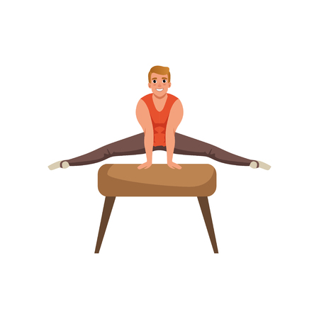 Male gymnast doing exercise illustration