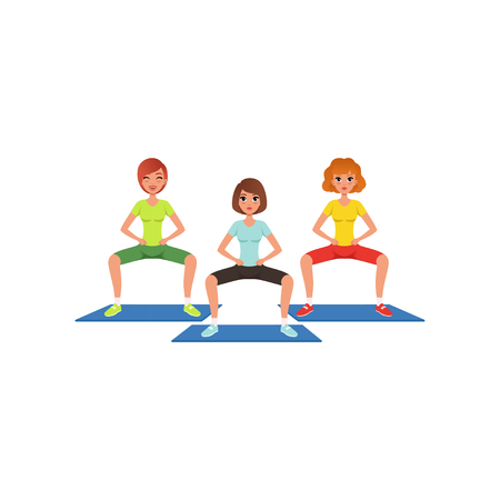 Young girls in sportswear doing squat exercise. Butt and leg workout. Pretty women in fitness center. Cartoon people in gym. Healthy lifestyle. Flat vector design