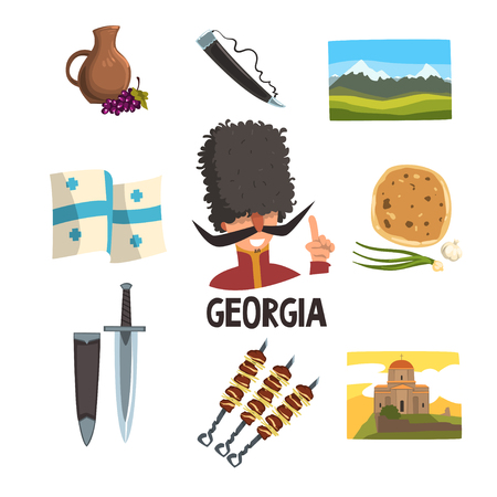 Georgia icons set collection illustration Stock Illustratie