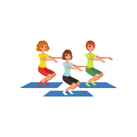Young girls doing squats vector illustration  イラスト・ベクター素材
