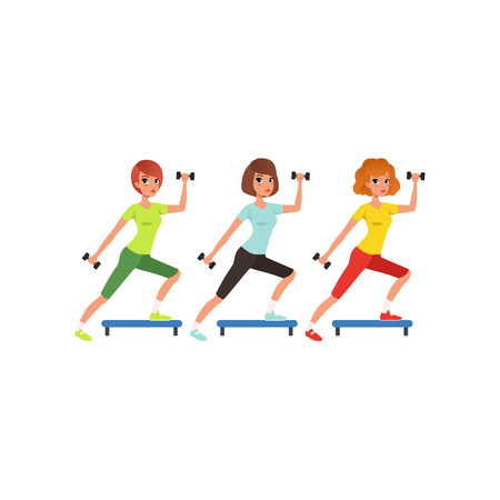 Young girls doing fitness exercise using dumbbells and step platform. Women in colorful sportswear. Cartoon people in gym. Physical activity. Flat vector