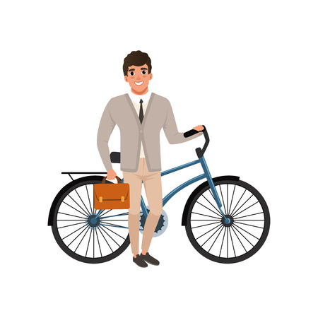 Smiling guy standing with bicycle and briefcase in hand. Cartoon man in stylish clothes: cardigan, shirt, tie and pants. Office worker. Flat vector design