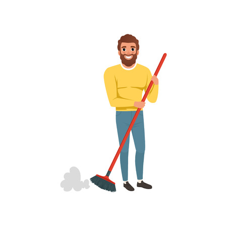 Young bearded guy sweepingcleaning floor with plastic brush. Housekeeping theme. Cartoon man in sweater and jeans. House husband. Flat vector design