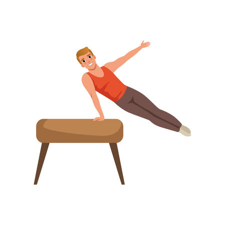 Young guy training on pommel horse. Individual sport. Man doing on artistic gymnastics apparatus‎. Cartoon professional gymnast. Flat vector design