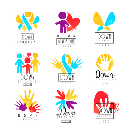 Set of abstract emblems with ribbons, humans and hands. Icons for medical centers. Vectores