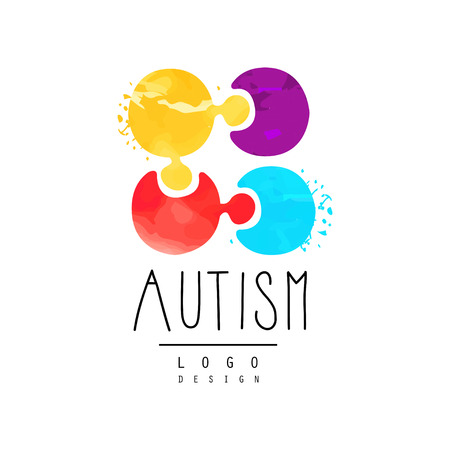 Vector emblem with multi-colored puzzle. Genetic disorder or Autism awareness theme. Ilustração