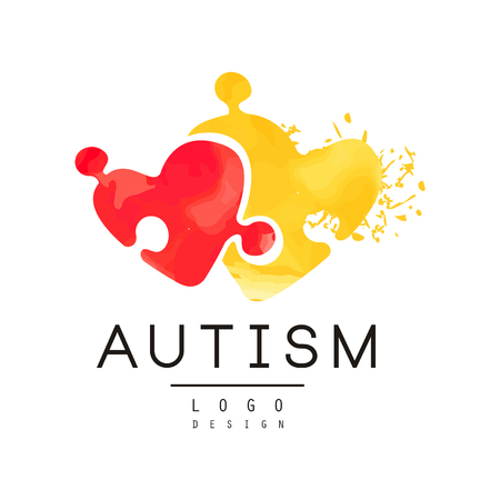 Autism awareness concept with two pieces of puzzle in shape of hearts. Original vector icon for charitable organization, medical or wellness center