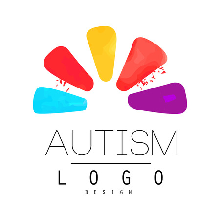 Autism Awareness Day emblem with abstract petals of flower. Vectores
