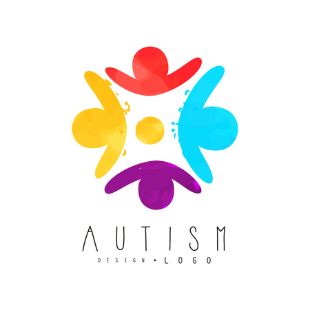 Autism awareness day icon with humans in circle. Genetic disorder. Colorful vector emblem for charitable organization, wellness or medical center