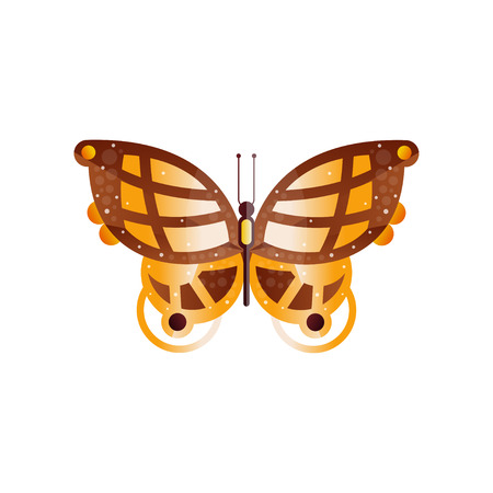 Original flat vector icon of wonderful butterfly with gradients and texture on the wings.