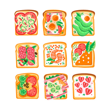 Vector set of sandwiches with different ingredients.  イラスト・ベクター素材