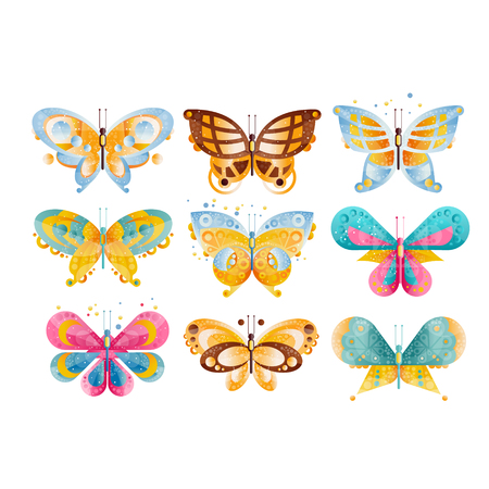 Flat vector set of brightly colored butterflies with beautiful wings. Ilustração