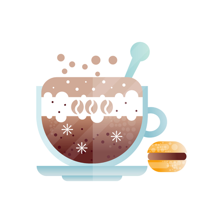 Cup of fresh americano. Mug of cold coffee drink and macaroon.