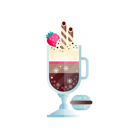 Glass of chilled coffee with ice-cream and ripe strawberry on top. Stock Illustratie