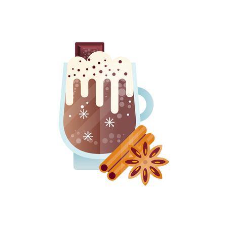 Tasse gekühlten Kaffee mit Milchschaum und Stück Schokolade auf der Spitze Vektorgrafik