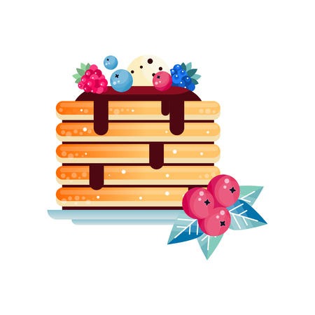 Stack of tasty pancakes topped with chocolate sauce, decorated with ball of ice-cream and fresh berries. Illustration