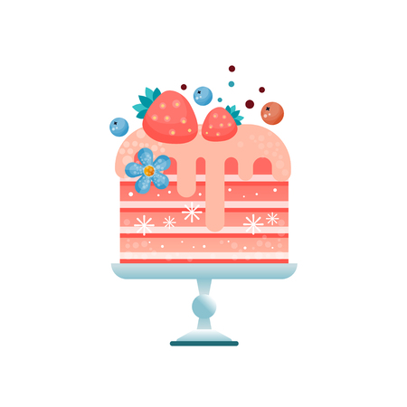 Colorful flat vector icon of chilled pink cake decorated with strawberries, blueberries and blue flower.