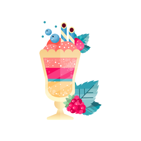 Icon of tasty multi-layered dessert with ice-cream, berries and drinking straws. Ilustrace