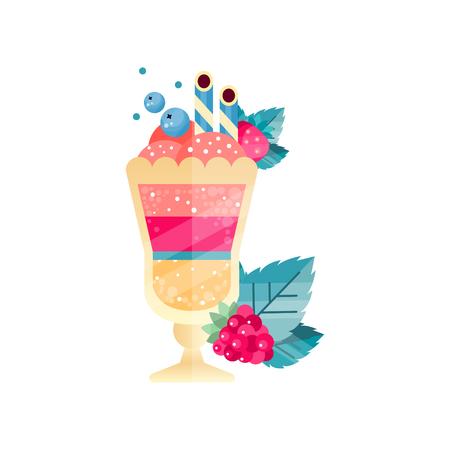 Icon of tasty multi-layered dessert with ice-cream, berries and drinking straws. Иллюстрация