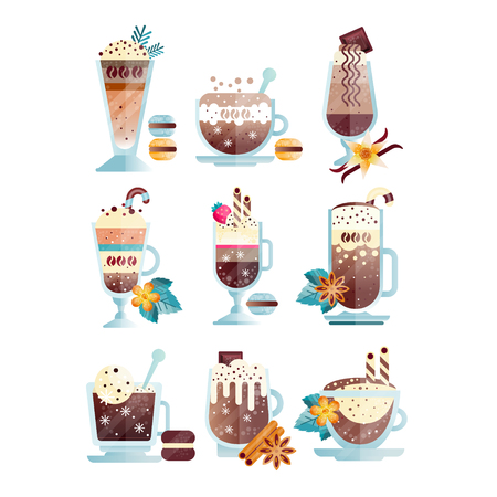 Flat vector set of tasty coffee drinks in transparent cups and glasses.