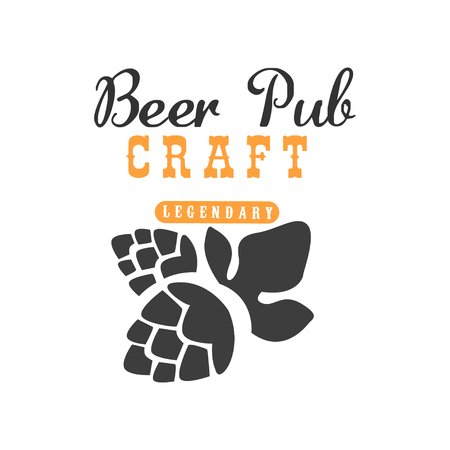 Minimalistic vector logo with hop for pub, cafe or restaurant. Craft beer theme. Alcoholic beverage. Graphic design for bottle label or sale promo