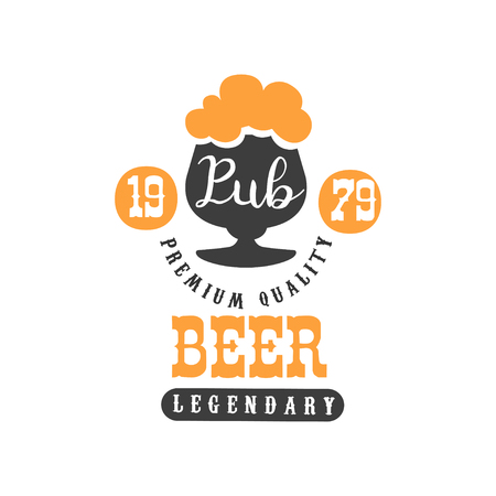 Stylish black and orange logo template with glass of legendary beer with foam. Typographic vector design for pub, festival, advertising poster or sale promo