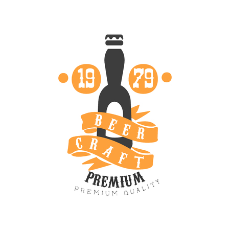 Vector emblem template with bottle of craft beer.