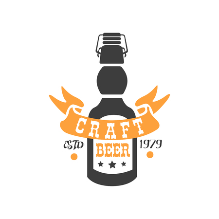 Creative vector emblem with bottle of craft beer and ribbon.