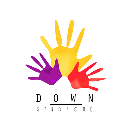Creative emblem with colorful hands. Stock Illustratie