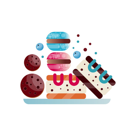 Plate with appetizing desserts: chocolate cookies, macaroons and pieces of cake. Sweet and tasty food. Banque d'images - 98530859