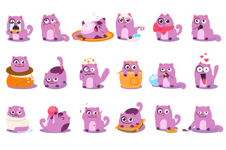 Set of cartoon purple kitten in different situations. Cartoon character of funny emotion cat. Happy, surprised, sad, sleeping, crying, playful, angry, enamored, satisfied, pensive Flat vector icons