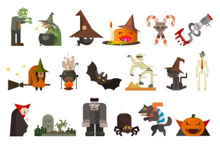 Set of scary characters and objects. Halloween theme. Zombie, witch, black cat, Frankenstein, mummy, pumpkin with sweets, bat, spider, vampire, candy canes grave Colorful flat vector illustration Ilustração