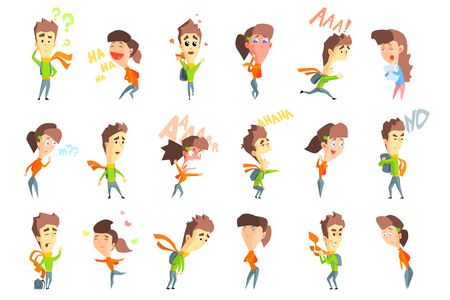 Flat vector set with cartoon boy and girl showing various emotions.