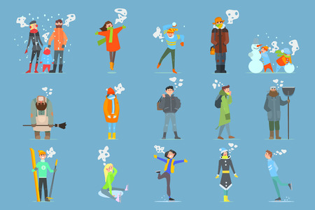 Collection of cartoon men, women, girls and boys. Outdoor activities. Cold and snowy weather.