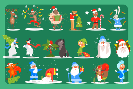 Flat vector set of funny Christmas characters.