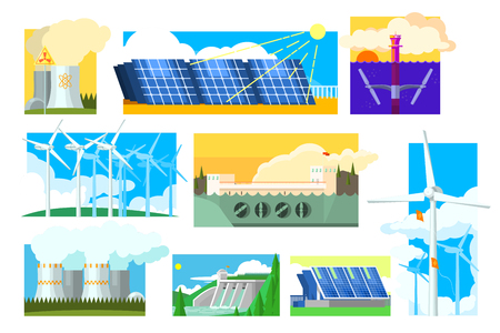 Vector set of alternative energy sources. Electricity production industry. Solar, wind, hydroelectric, nuclear and thermal power plants Ilustração
