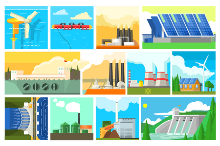 Types of electricity generation plants and alternative energy sources. Electricity production stations. Colorful flat vector design