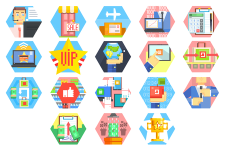 Icons related internet business and finance theme. Customer service from acceptance of orders and payment to packaging and delivery. Illustration