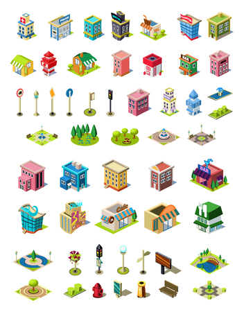 Isometric vector icons set for city constructor.