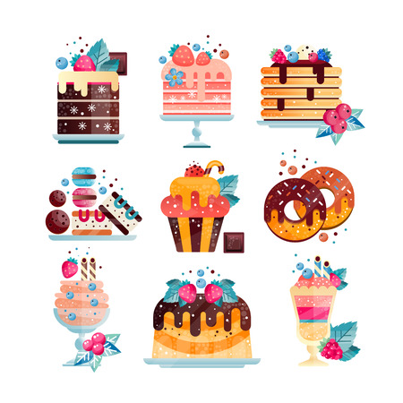 Flat vector set of various tasty desserts with gradients and texture. Cakes, cupcake, donuts, ice-cream, pancakes, cookies and macaroons.