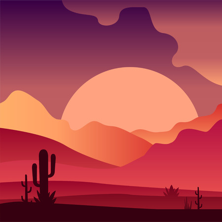 View on sunset in sandy desert landscape with cactus plants. Pink and purple gradients. Vector design for mobile game, travel poster or print