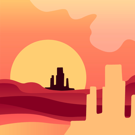 Sunrise in American wild desert. Natural landscape with rocky mountains. Vector of scenery in gradient colors