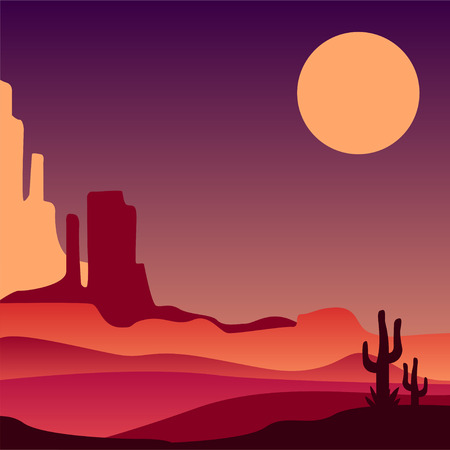 Stony Arizona desert with silhouettes of cacti. Natural scenery of North America. Vector design for poster, print or postcard